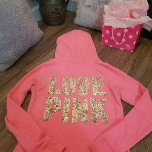 VS PINK bright pink zip up hooded bling sweatshirt